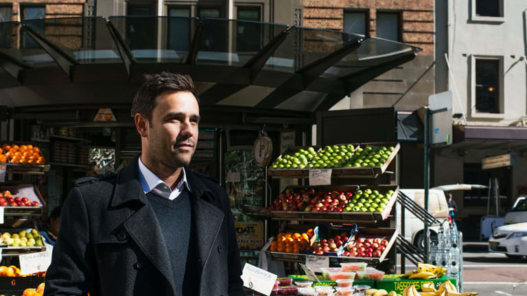 Chris Brycki, of Stockspot, outside his office in York Street, Sydney.