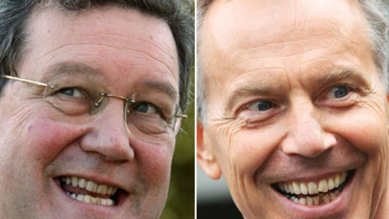 Labour of love? ... Alexander Downer and Tony Blair.