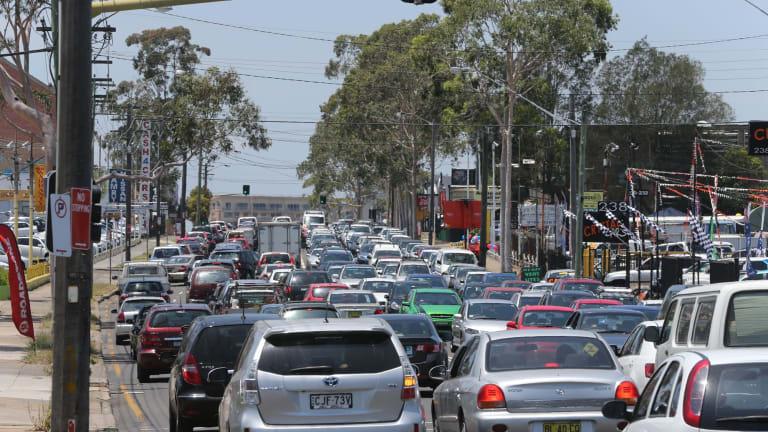 Sydney congestion: Cars on Parramatta Road near Flemington Markets.