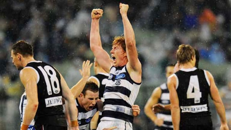 For a moment, Geelong's Cameron Ling thought he had kicked the winning goal, but an umpire's call ended the celebrations.