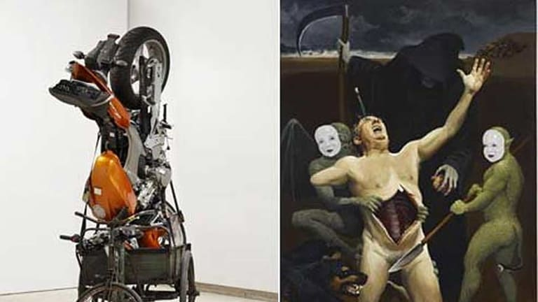 Wynne Prize winner, Richard Goodwin's <i>Co-isolated slave</i>, left, and the Sulman Prize winner, Peter Smeeth's <i>The artist's fate</i>.