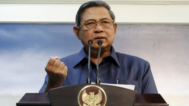 Tough words: Indonesian President Susilo Bambang Yudhoyono at a press conference last year after recalling his ambassador to Australia over spying allegations.