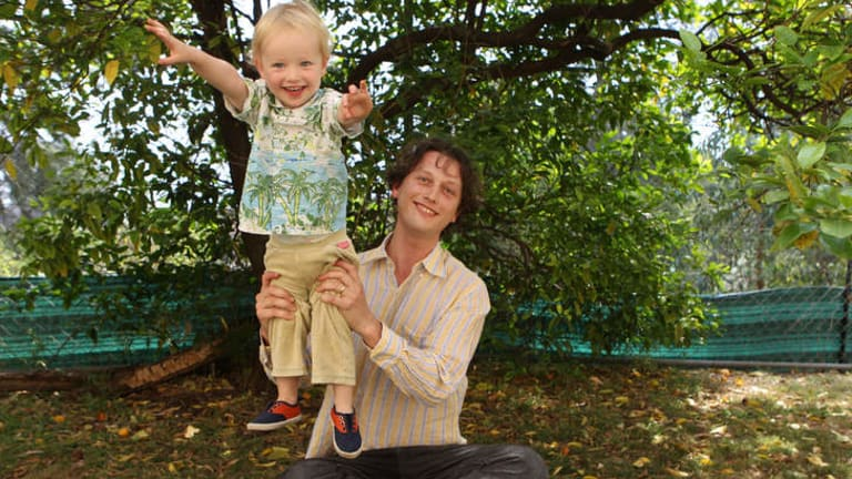 Bonding: Jack Ellis with his son Remy, 2, at their home in Marrickville.