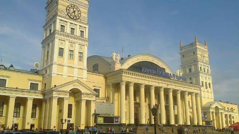 Kharkiv railway station, where people are waiting the arrival of the train carrying the bodies of MH17 victims.