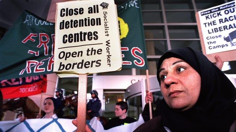A protest rally against detention of refugees.