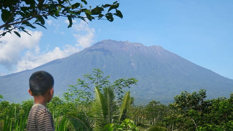 Mount Agung on October 29 from Rendang observation point.