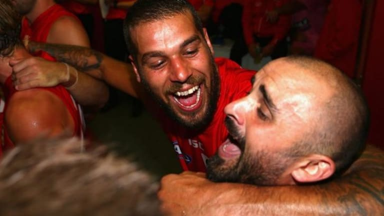 Team bond: Lance Franklin (left) and Rhyce Shaw bang out the club song after a win.
