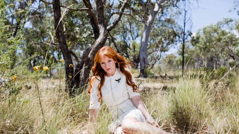 Hollywood actress Stef Dawson in the calming surrounds of Farrer Ridge during a recent trip home to Canberra. She is wearing a dress by Aussie label Zimmermann.
