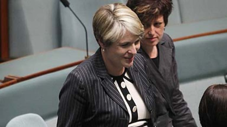Tanya Plibersek,  less than a fortnight out from giving birth,  arrives the opening of parliament.