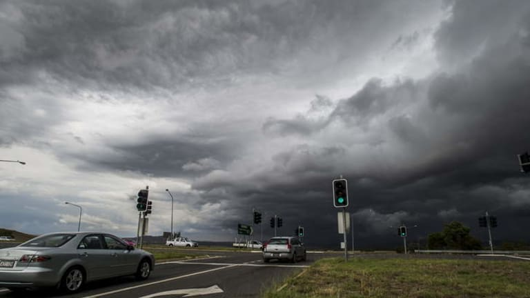Dark clouds over Canberra before the storm.