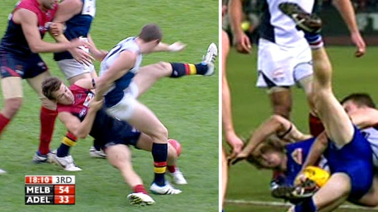 Jack Trengove's 'sling' tackles on Patrick Dangerfield in round seven (left) and on Bulldog Callan Ward (right).