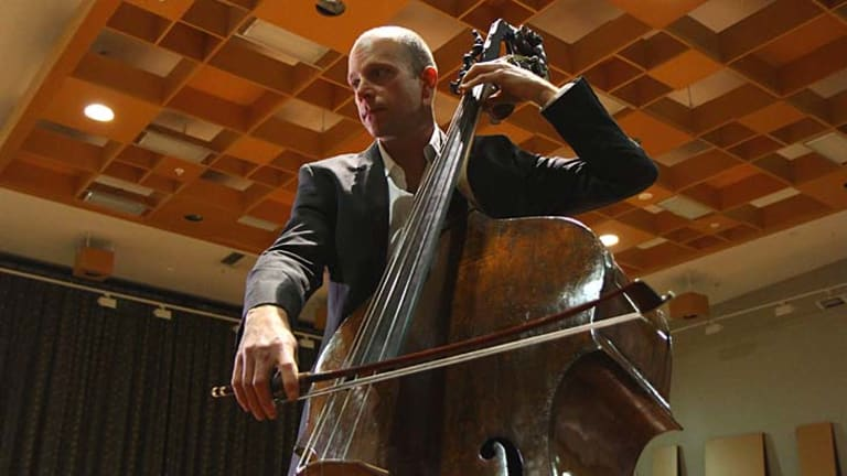 """""""Everything one wold hope for"""": Maxime Bibeau with the Gasparo da Salo double bass."""