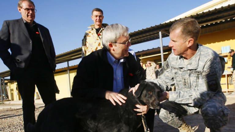 Kevin Rudd and US commander General Stanley McChrystal pat Sabi.
