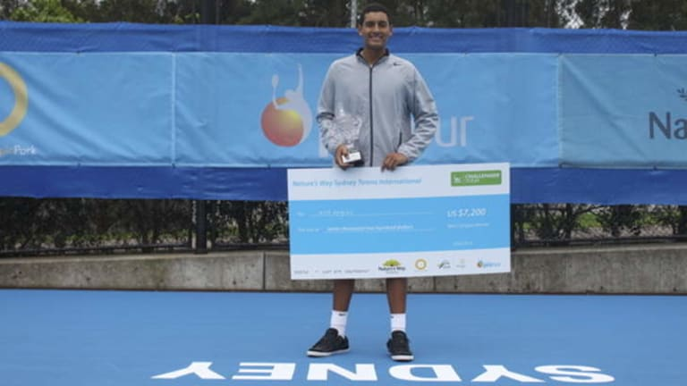 Nick Kyrgios won the Sydney Tennis International on the ATP Challenger tour on Sunday.