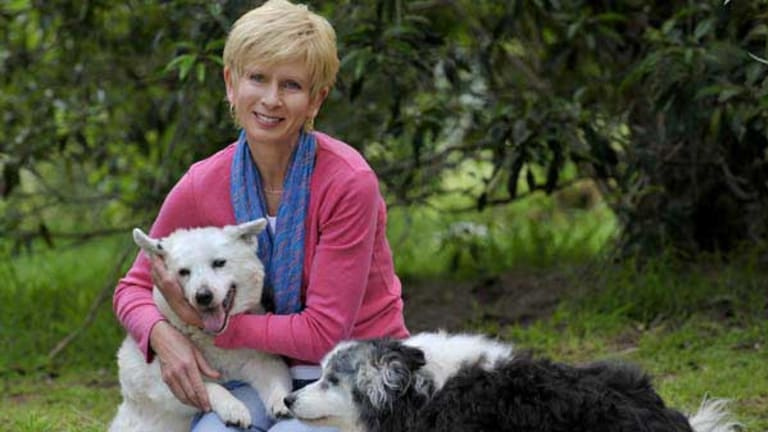 Lyn White with Piper and Rosie.
