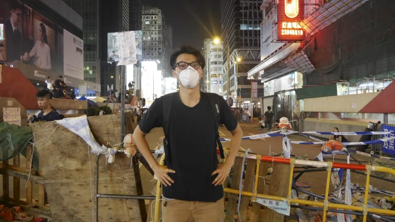 Galvanised: Alvin Cheng at the Mong Kok protest site in Hong Kong.