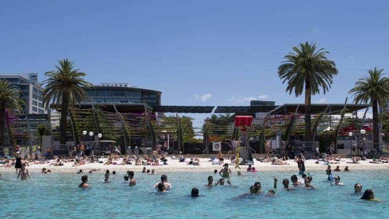 Brisbane's Southbank beach is a hit with families.