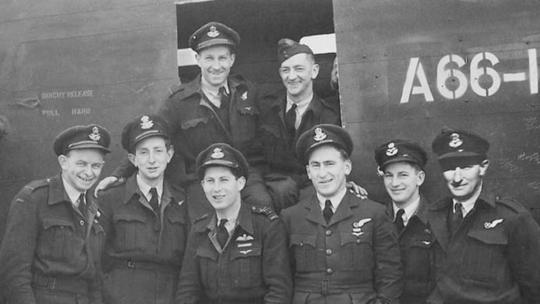 Left to right: Bill Copley, Joe Grose, Peter Isaacson, Bob Nielsen, Archie Page, Alan Ritchie, and, at back, Don Delaney, and Claude Spencer (in 1943).