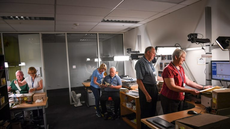 Mormon volunteers at the Victorian Archives Centre in North Melbourne. From left, Roger and Kathleen Bingham, Deborah and Steve  Thompson and Bill and Nanette Justus.