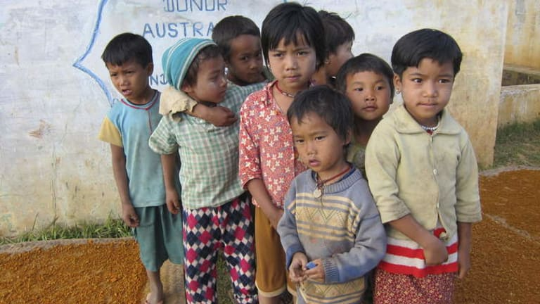 Australian aid money built a water tank in this remote village in the opium growing region of Shan State.