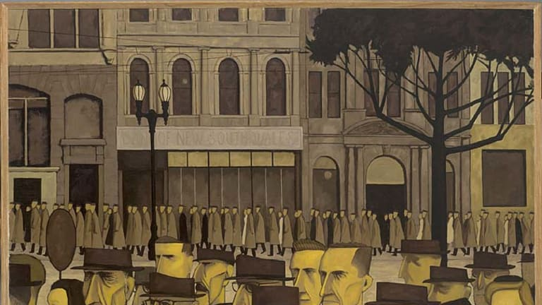 <i>Collins St., 5pm</i>, by John Brack.