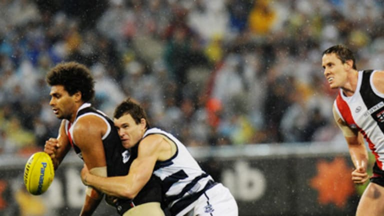 Cameron Mooney applies the tackle on James Gwilt and a subsequent Cameron Ling goal wasn't allowed.