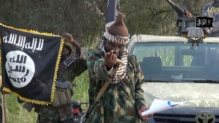 Screengrab from an video released by Boko Haram shows the leader Abubakar Shekau.