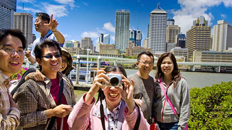 Taiwanese tourists visit Southbank in Brisbane.