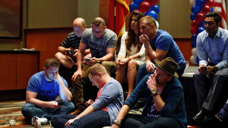 Hillary Clinton supporters in Dallas check results as Donald Trump began to pick up wins in key states.