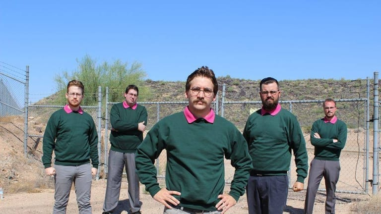 """The members of Ned Flanders-themed band Okilly Dokilly, the world's first """"nedal"""" band."""