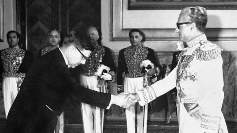 Diplomatic life: Barry Hall presenting his credentials to the Shah of Iran in 1968.