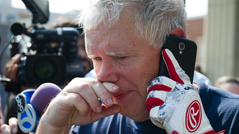 Representative Mo Brooks, still in his baseball gear, after the shooting.
