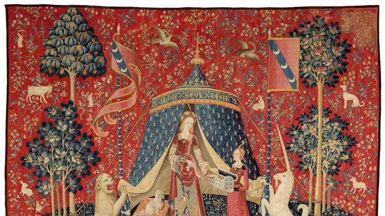 """""""My Sole Desire"""" from The Lady and the Unicorn tapestry series, c1500."""