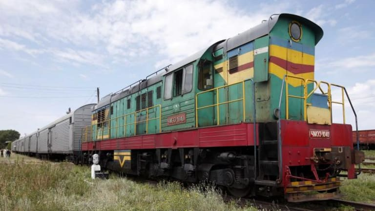 The train containing the bodies of passengers of the crashed Malaysia Airlines plane, which is en route to an airport in northern Ukraine.