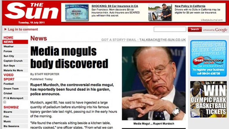 Hacked ... LulzSec put a fake story on The Sun's website saying Rupert Murdoch was dead.