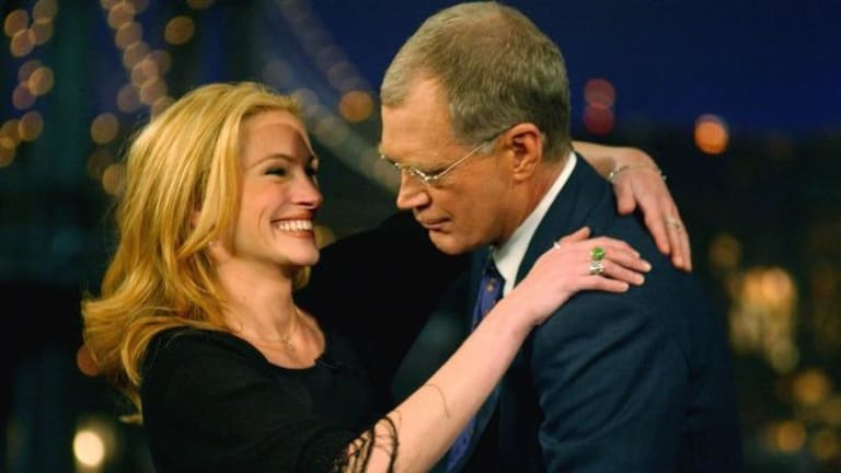 Actress Julia Roberts in 2001 with host David Letterman.