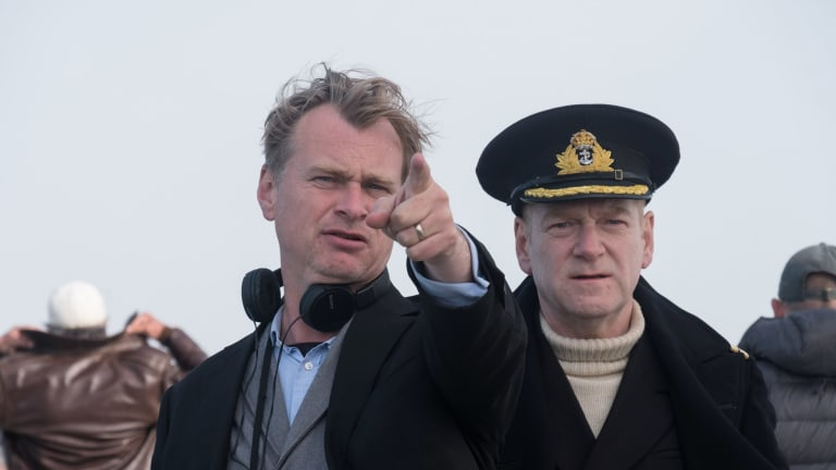 Director Chris Nolan (left) with Kenneth Branagh on the film set.
