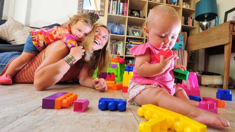 Amy Guy with her daughters Annabel, 2, and Meredith, seven months.