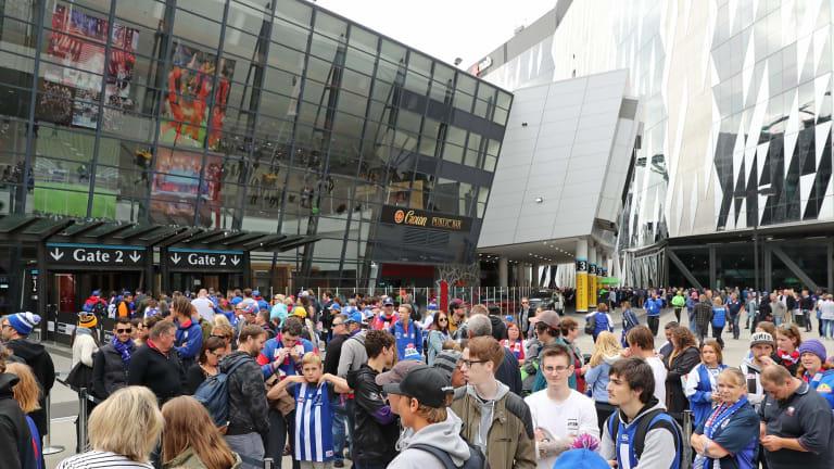 Crowds outside Etihad Stadium ahead of the Good Friday match.