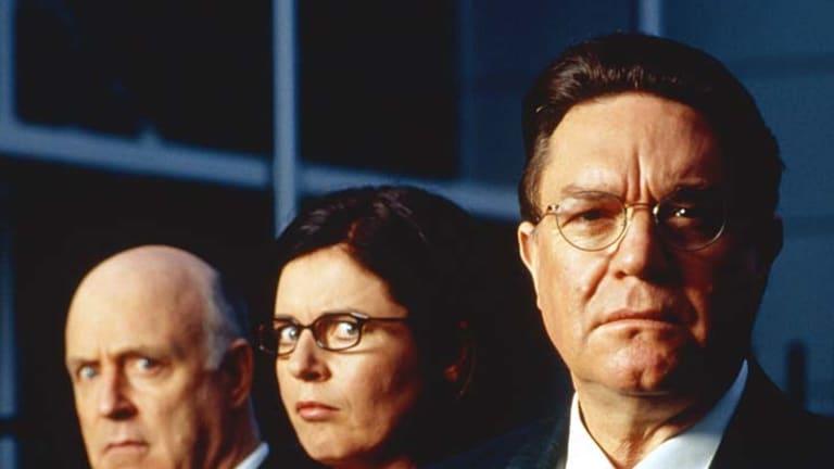 John Clarke, Gina Riley and Bryan Dawe in <em>The Games</em>.