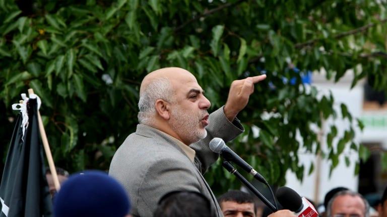 Senior Hizb ut-Tahrir figure Ismail Al-Wahwah speaking at a rally.