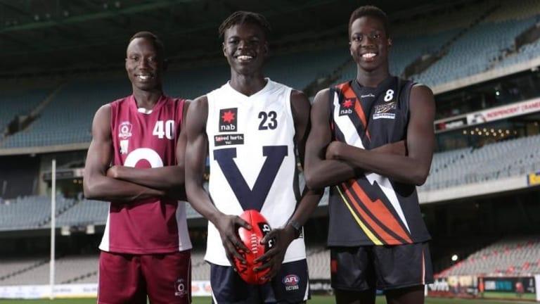 AFL hopefuls: Mabior Chol, Gach Nyuon and Duom Dawam.