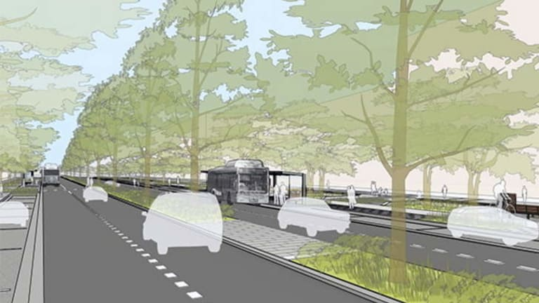 An artist's impression of the proposed upgrade of Constitution Avenue designed to help transform the street into a grand boulevard.