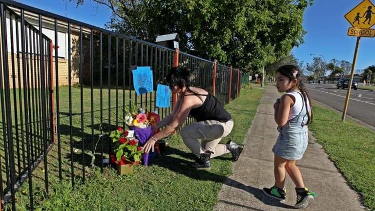 Attack: The scene of Cheyne Duncan's death near a school in Doonside.