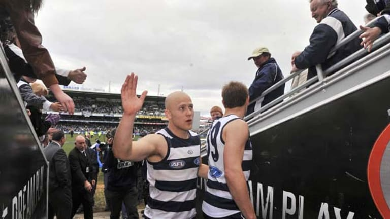 Is this goodbye, or only good afternoon? Gary Ablett farewells fans after another best-on-ground display at Skilled Stadium. The star Cat is yet to announce whether he will stay next year.