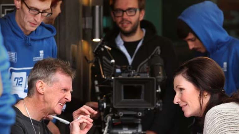 Actors Don Bridges and Kate O'Toole during filming at Southbank.