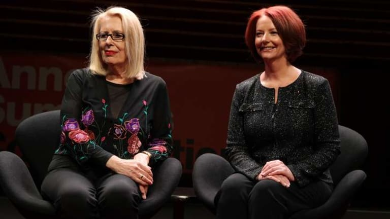 Anne Summers with former PM Julia Gillard at her first public event since losing the prime ministership.