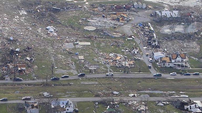 Trail of destruction ... debris is strewn across Marysville, Indiana.