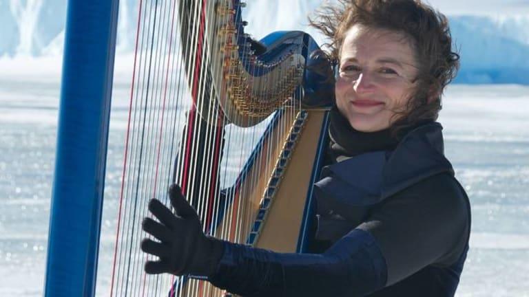 Classical harpist Alice Giles in Antarctica.