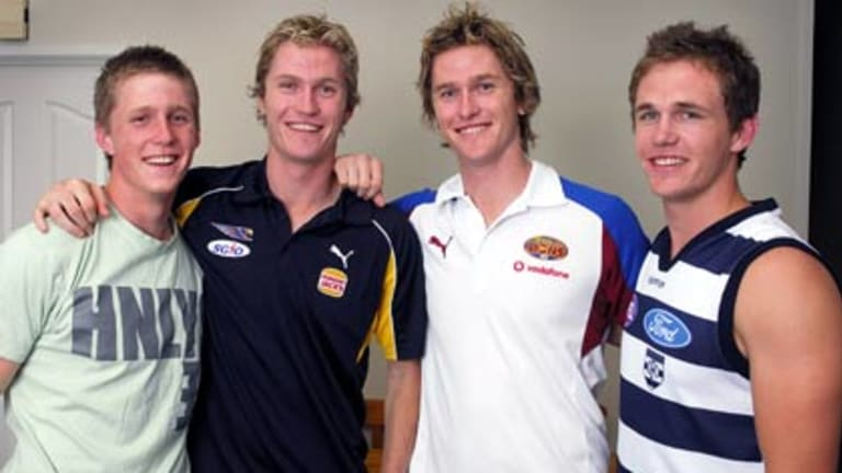 Scott, Adam, Troy and Joel Selwood at their family home in Bendigo.